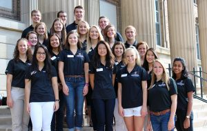 student ambassadors on steps of Ag Hall